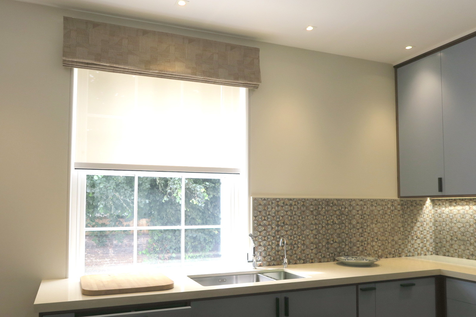 kitchen roman and privacy roller blinds